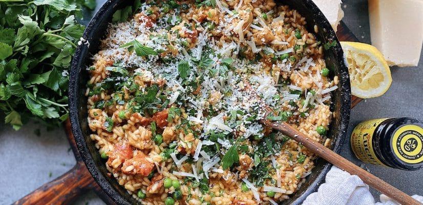 finished dish chicken and chorizo risotto