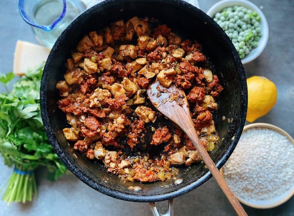 prep step chicken and chorizo risotto