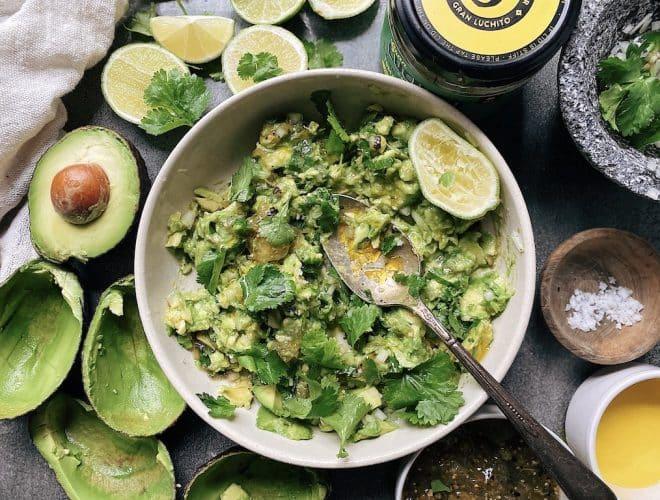 prep step of Homemade Guacamole
