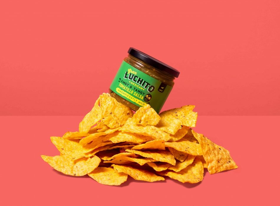 Tomatillo Salsa on top of tortilla chips