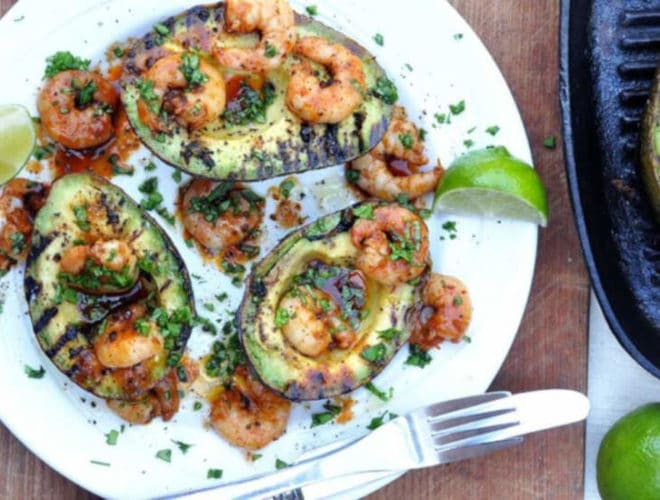 BBQ Avocado With Chipotle Prawns