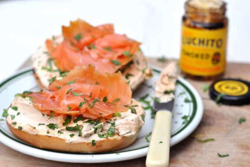 Chipotle Cream Cheese And Salmon Bagel