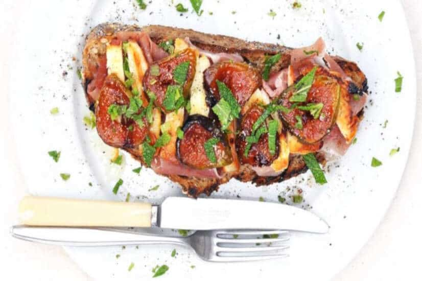 Fig Toast With Chilli Halloumi & Parma Ham
