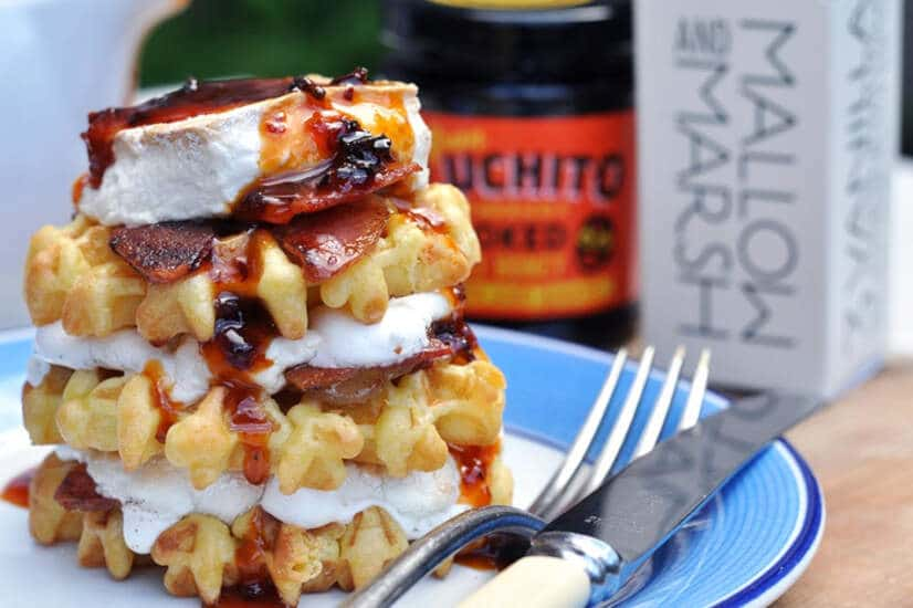 Marshmallow Waffles with Chipotle Honey and Bacon