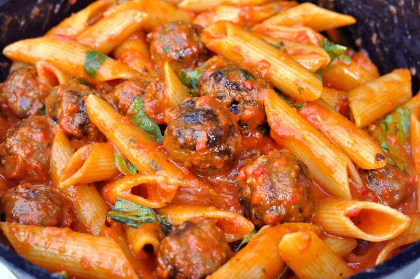 smoky meatball pasta bake