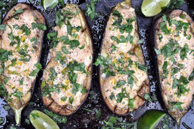 Roasted Aubergine With Chipotle Sour Cream