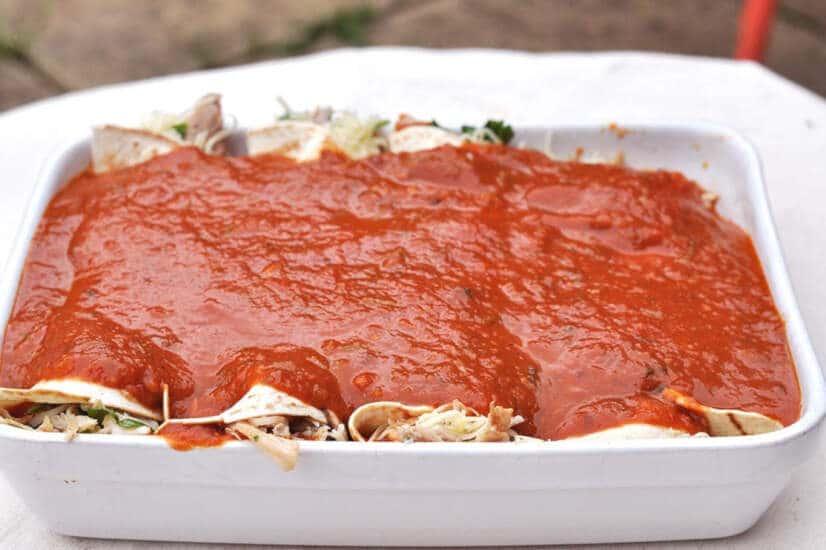 Chicken Enchiladas-tomato sauce