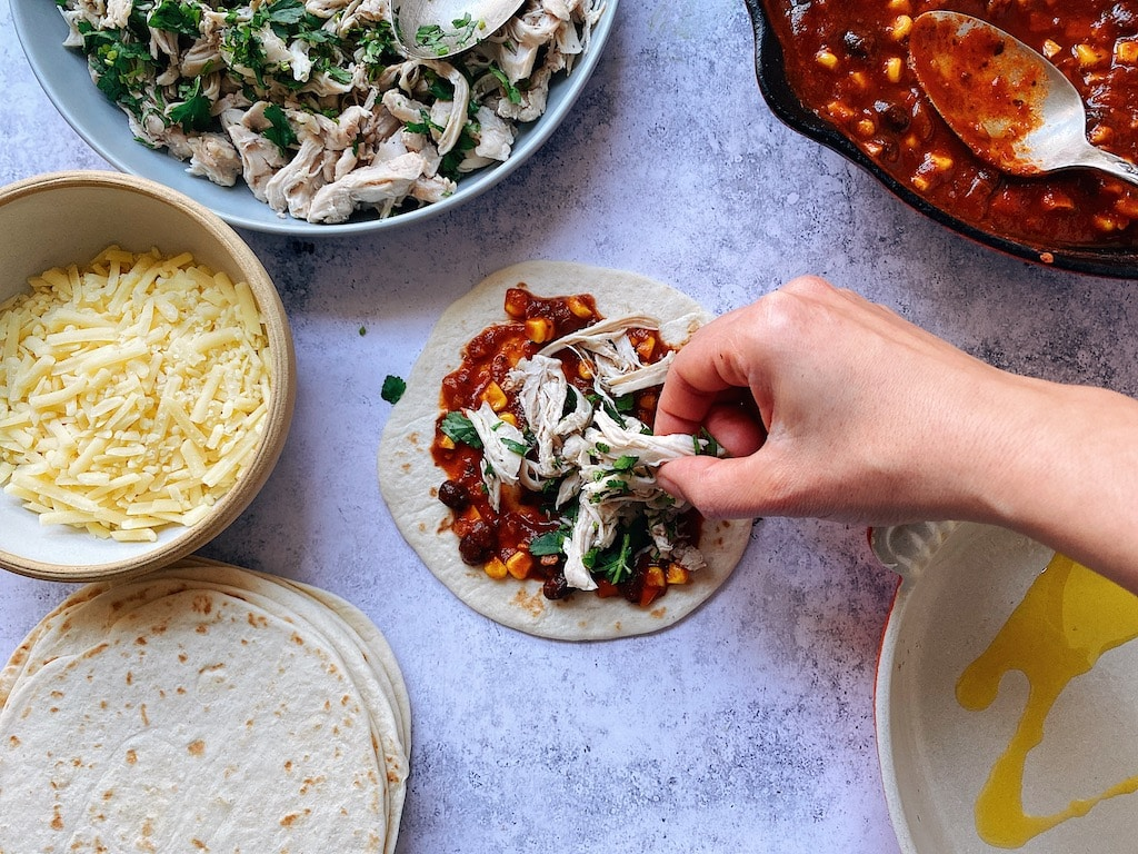 chicken enchiladas recipe prep step