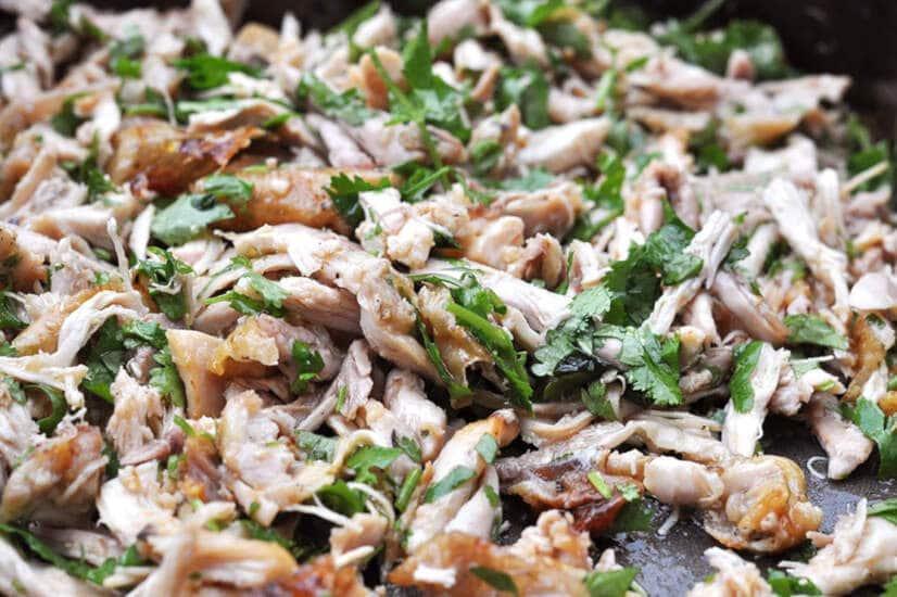 Chicken Enchiladas-Shred chicken and stir