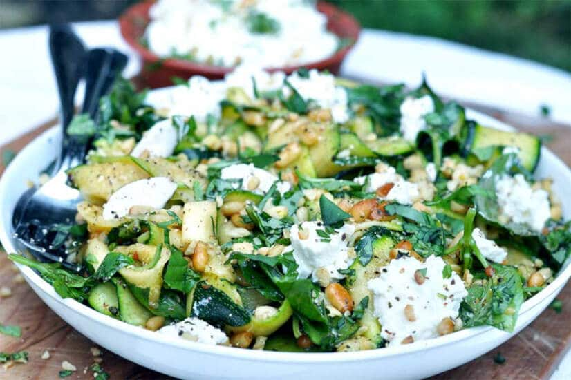 Courgette Salad with Ricotta & Pine Nuts