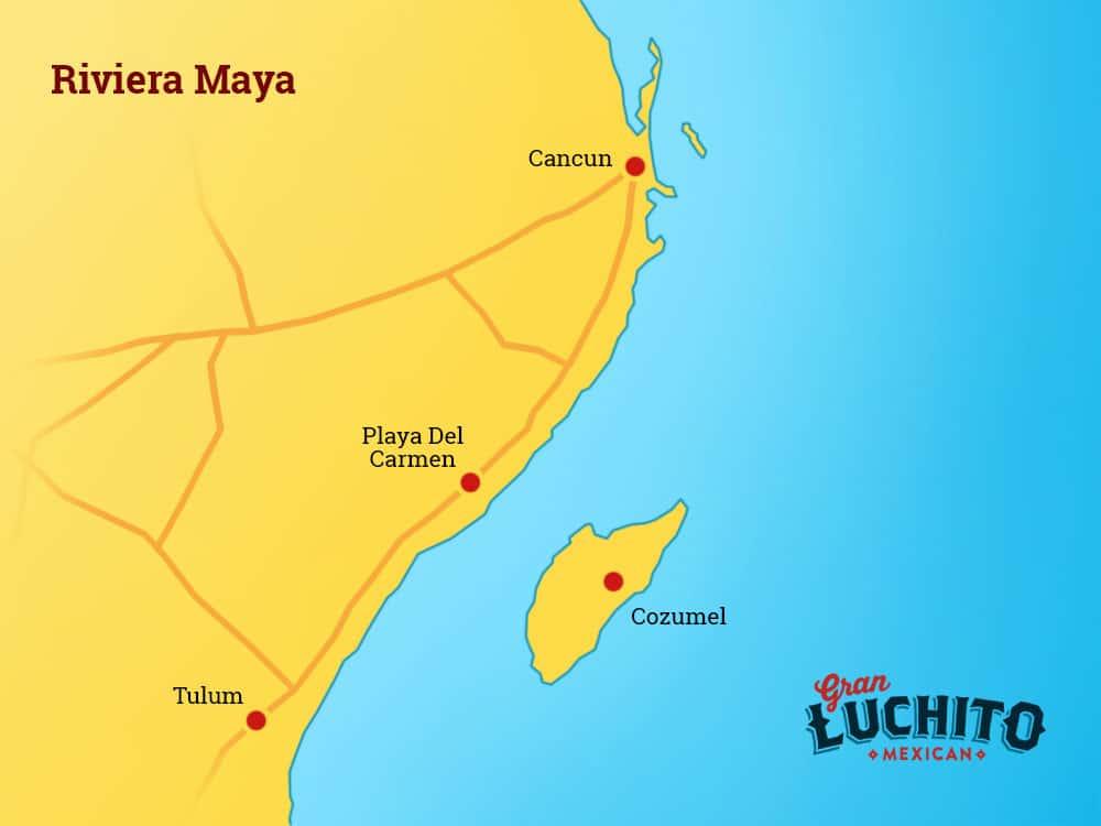 Map Riviera Maya Mexico
