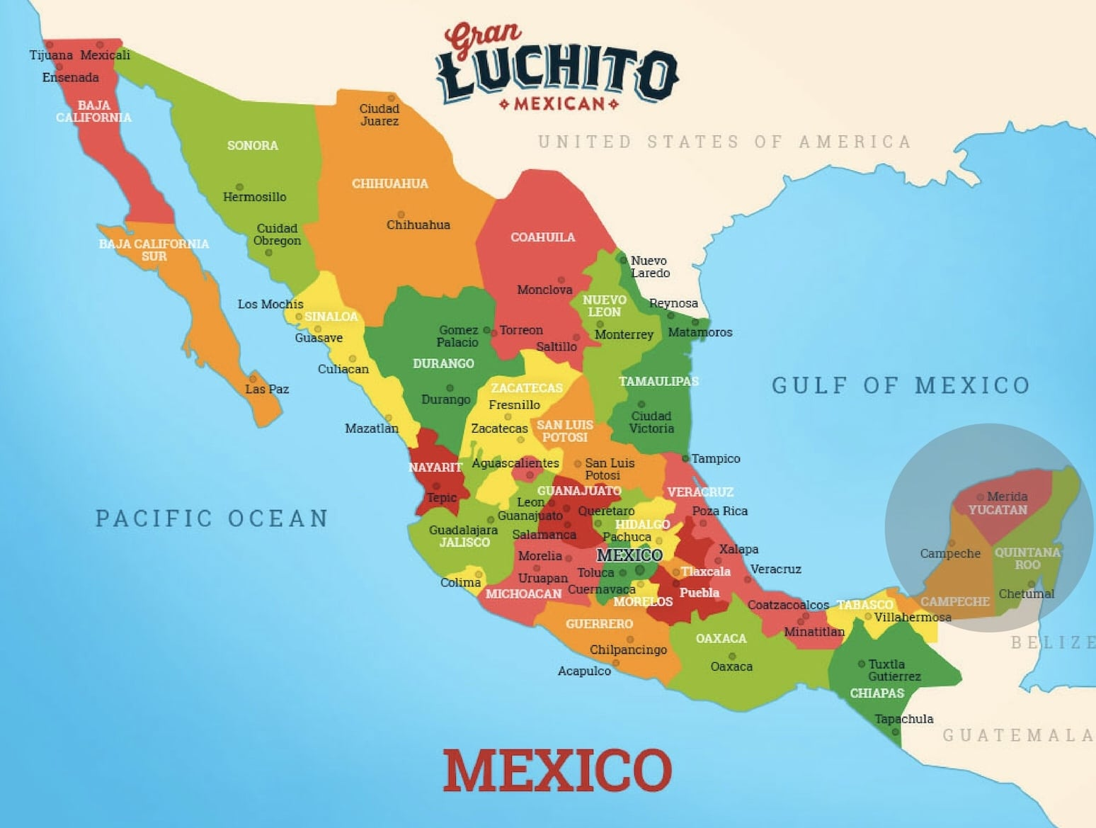 mexico map of yucatan