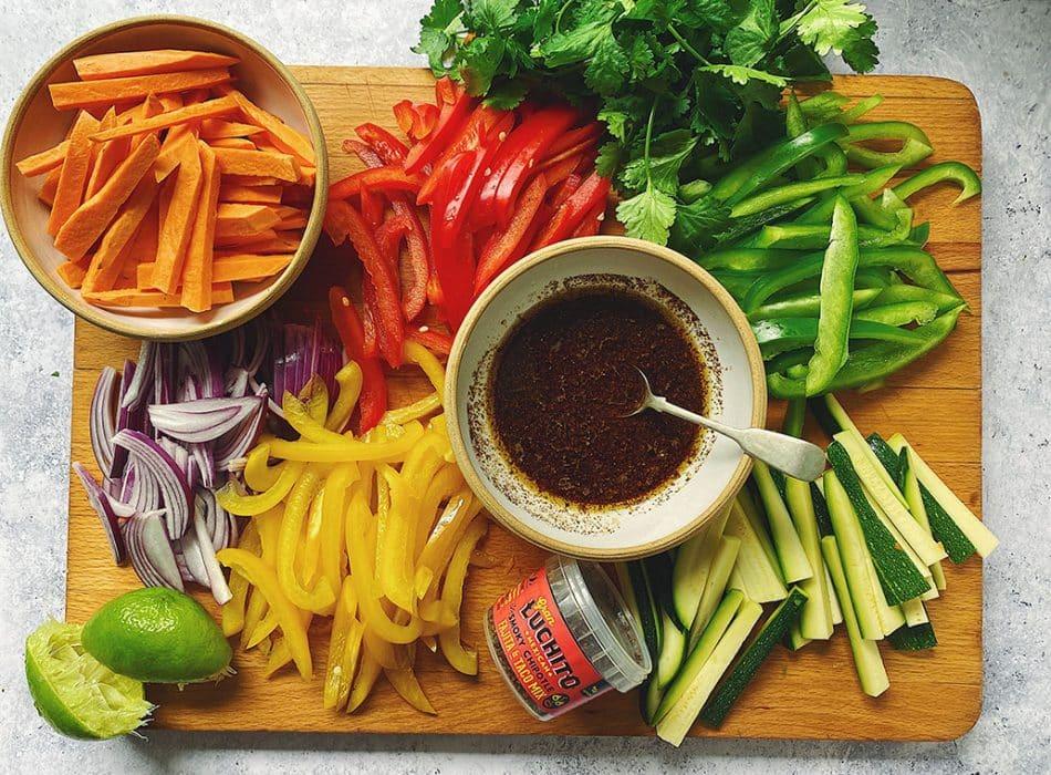 Vegetarian Fajitas prep step