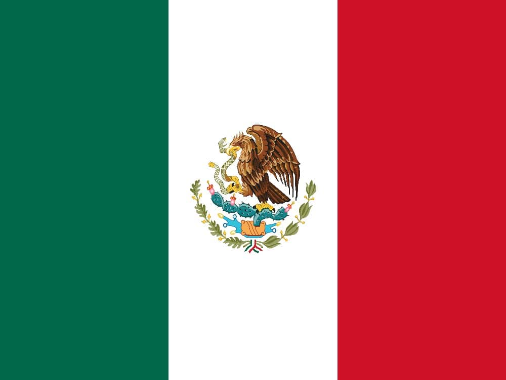 Flag of Mexico with eagle on cactus