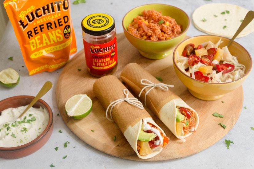 vegan burrito using refried beans