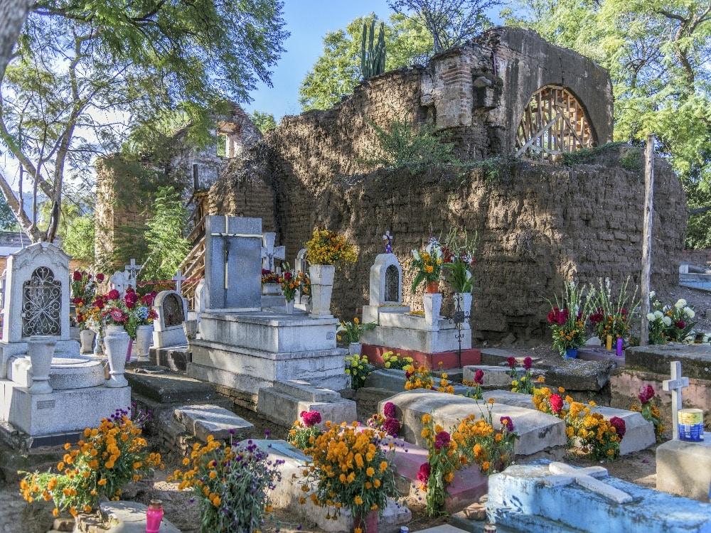 Decorated tombs for Day of the Dead in Oaxaca