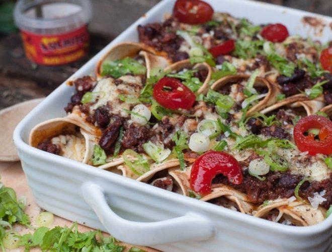 finished dish of beef enchiladasv
