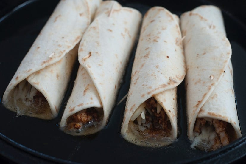 fry taquitos until crispy, a few at a time