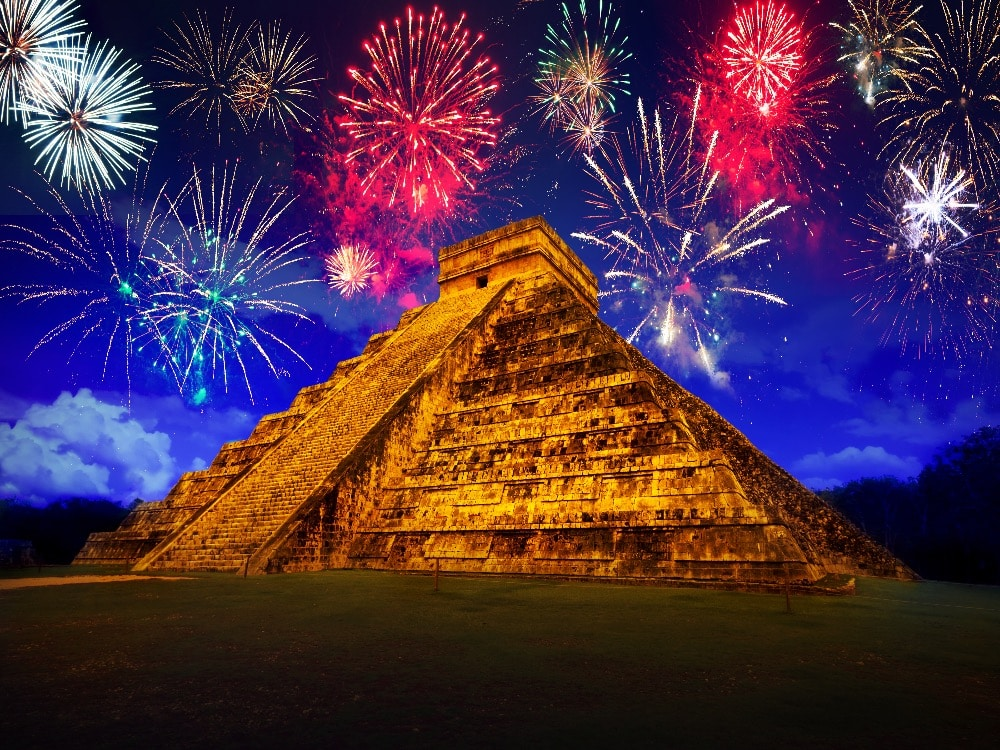 fireworks at the pyramid