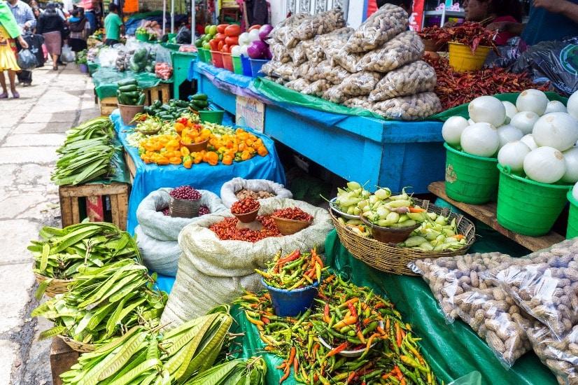 fresh veg in market in Oaxaca