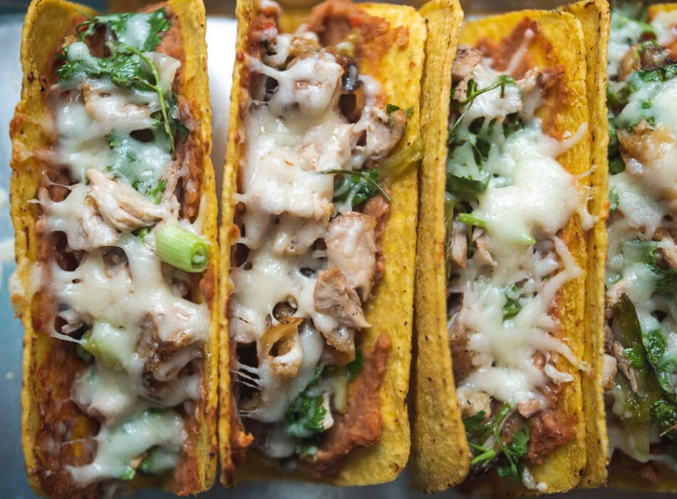 Crispy Chicken Taco finished dish of cheese melted
