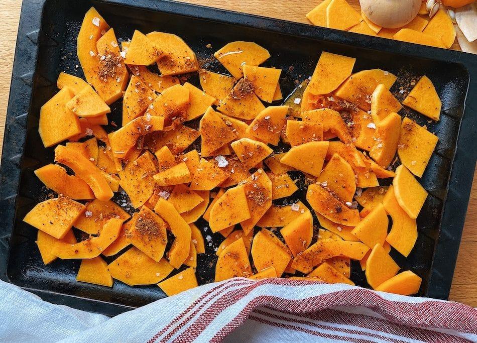 vegan nachos prep step roasting butternut squash