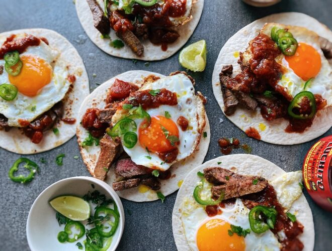 Carne Asada and Egg Tacos