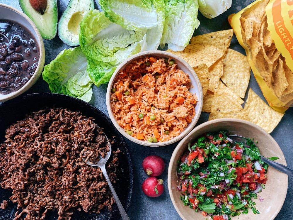 taco salad prep step assembling ingredients
