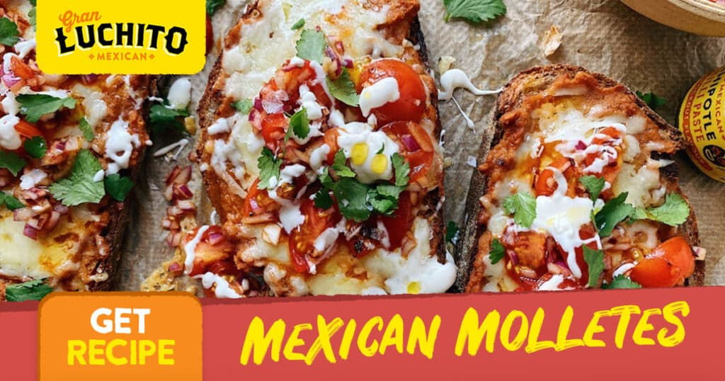 Mexican Molletes with Refried Beans